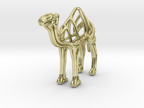 Camel Wireframe Keychain  in 18k Gold Plated Brass