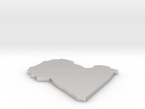 Libya - [Plain3D:L] in Rhodium Plated Brass