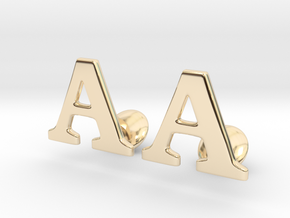 Initial Cufflinks  (A) in 14k Gold Plated Brass