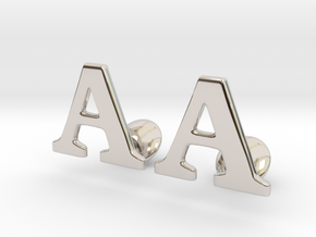 Initial Cufflinks  (A) in Rhodium Plated Brass