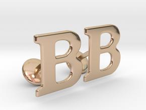 Initial Cufflinks (B) in 14k Rose Gold Plated Brass