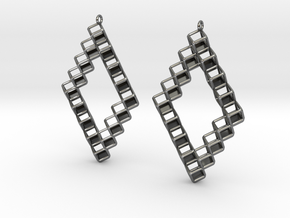 "Cube Earrings 1  ""Points of View"" collection in Fine Detail Polished Silver"