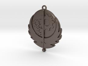 Brotherhood of Steel pendant in Polished Bronzed Silver Steel