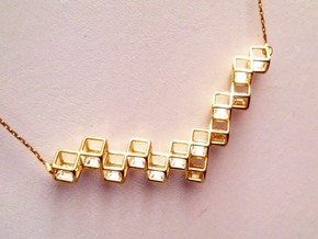 "Cube Necklace 1 ""Points of View"" collection in 18k Gold Plated Brass"