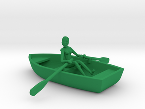 Row Boat #2 - HO 87:1 Scale in Green Processed Versatile Plastic