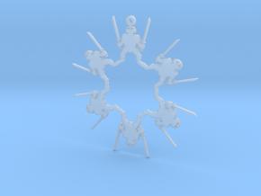 Snowflake Leonardo Ninja Turtle Ornament  in Smooth Fine Detail Plastic