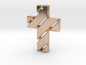 Cross  in 14k Rose Gold Plated Brass