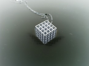 Mesh Cube Necklace  in Polished Silver