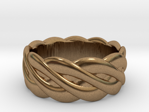 Braided celtic ring - t 19 in Natural Brass