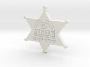 Sunset Sarsaparilla Deputy Sheriff Badge in White Natural Versatile Plastic