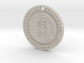 Lucky 38 'Platinum' Chip Pendant in Natural Sandstone: Extra Small