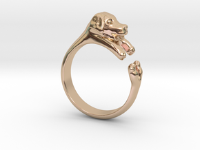Puppy Dog Ring - (Sizes 4 to 15 available) Size 9 in 14k Rose Gold