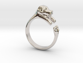 Puppy Dog Ring - (Sizes 4 to 15 available) Size 9 in Rhodium Plated Brass