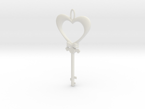 Magic Valentine's Heart Key (10% off until Feb14) in White Natural Versatile Plastic