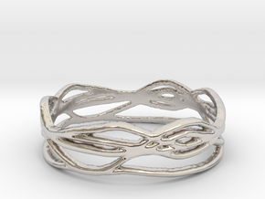 Ring Design 01 Ring Size 9 in Rhodium Plated Brass