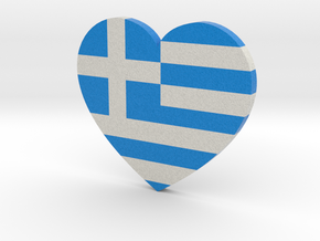 Greek Flag Heart in Full Color Sandstone