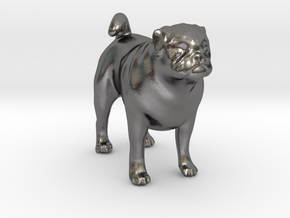 Standing Fawn Pug in Polished Nickel Steel