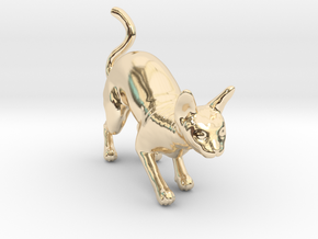 Stalking Blue Sphynx in 14k Gold Plated Brass