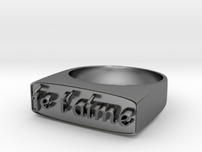 "RING   "" Je t'aime ""   U.S Size  8 in Polished Silver"