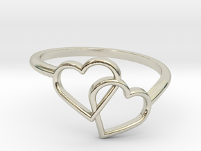 Interlocking Hearts Ring in 14k White Gold