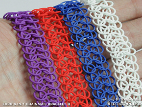 Euro 6-in-1 Chainmail Bracelet B in White Strong & Flexible