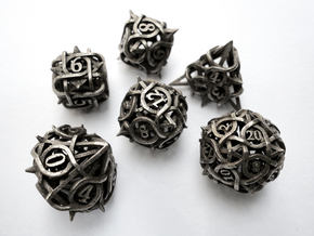 Thorn Dice Set in Polished Bronzed Silver Steel