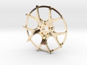 Twin Five Spoke Wheel Face in 14k Gold Plated Brass