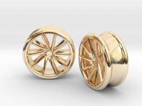 Set Of Vossen CVT Gauge EarRings 20mm InnerD in 14k Gold Plated Brass