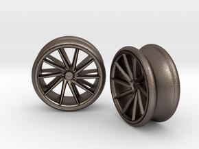 Set Of Vossen CVT Gauge EarRings 20mm InnerD in Polished Bronzed Silver Steel