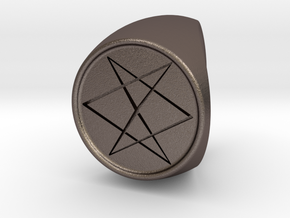 Custom Signet Ring 10 in Polished Bronzed Silver Steel