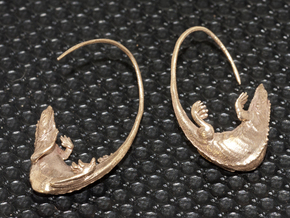 Lizard Earring - 25mm in Raw Bronze