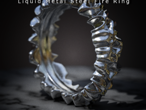 Liquid Metal Steel Fire Ring in Polished Bronzed Silver Steel