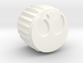 Rebel Insignia Guitar Knob without Flange in White Processed Versatile Plastic