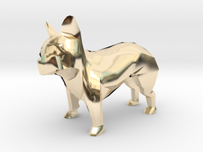 Low Poly French Bulldog in 14K Yellow Gold