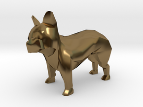 Low Poly French Bulldog in Polished Bronze