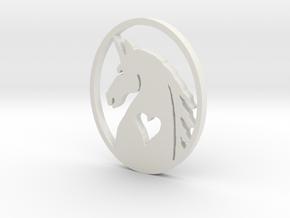 The Love of Unicorns Pendent in White Natural Versatile Plastic