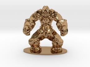 Rock Golem Earth Elemental Miniature in Polished Brass