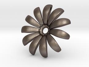 Daisy Pendant Shapeways in Polished Bronzed Silver Steel