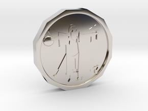 Dudeist Coin in Rhodium Plated Brass