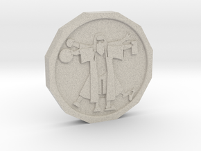 Dudeist Coin in Natural Sandstone