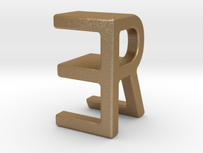 Two way letter pendant - ER RE in Polished Bronze Steel