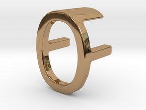 Two way letter pendant - FO OF in Polished Brass