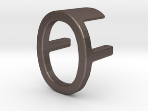 Two way letter pendant - FO OF in Polished Bronzed Silver Steel