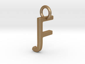 Two way letter pendant - FJ JF in Matte Gold Steel