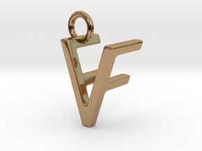 Two way letter pendant - FV VF in Polished Brass