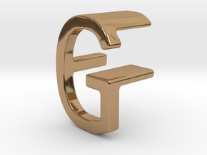 Two way letter pendant - FG GF in Polished Brass