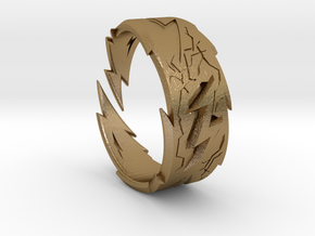 Power : Zeus Ring Size 8 in Polished Gold Steel