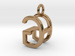 Two way letter pendant - GH HG in Polished Brass