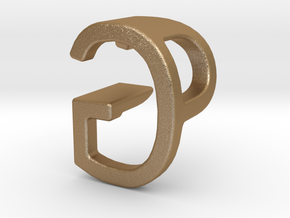 Two way letter pendant - GP PG in Matte Gold Steel