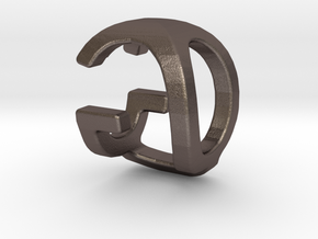 Two way letter pendant - GQ QG in Polished Bronzed Silver Steel